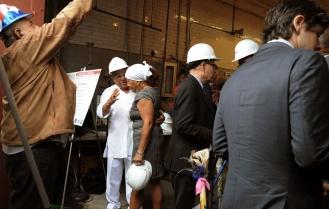 Dr. Marta Moreno-Vega with construction crew.